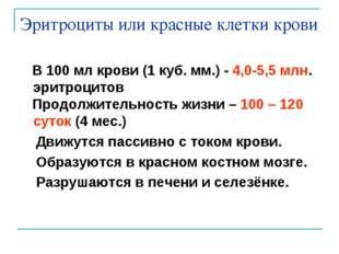 Эритроциты или красные клетки крови В 100 мл крови (1 куб. мм.) - 4,0-5,5 млн