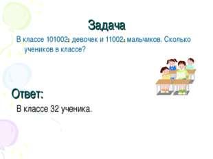 Задача В классе 1010022 девочек и 110022 мальчиков. Сколько учеников в классе