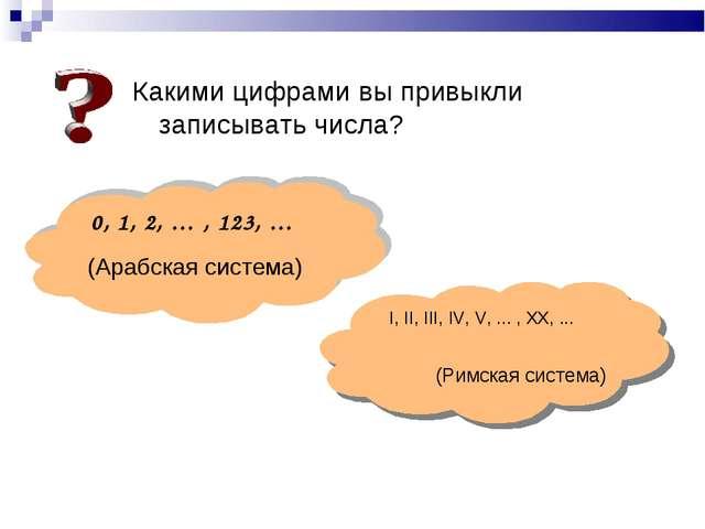 Какими цифрами вы привыкли записывать числа? 0, 1, 2, … , 123, … I, II, III,...