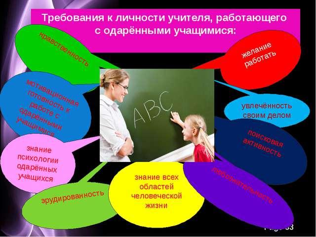 Требования к личности учителя, работающего с одарёнными учащимися: нравственн...