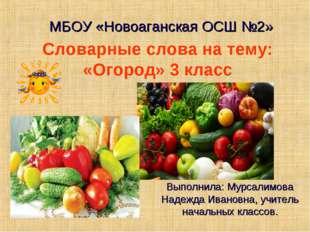 Словарные слова на тему: «Огород» 3 класс МБОУ «Новоаганская ОСШ №2» Выполнил