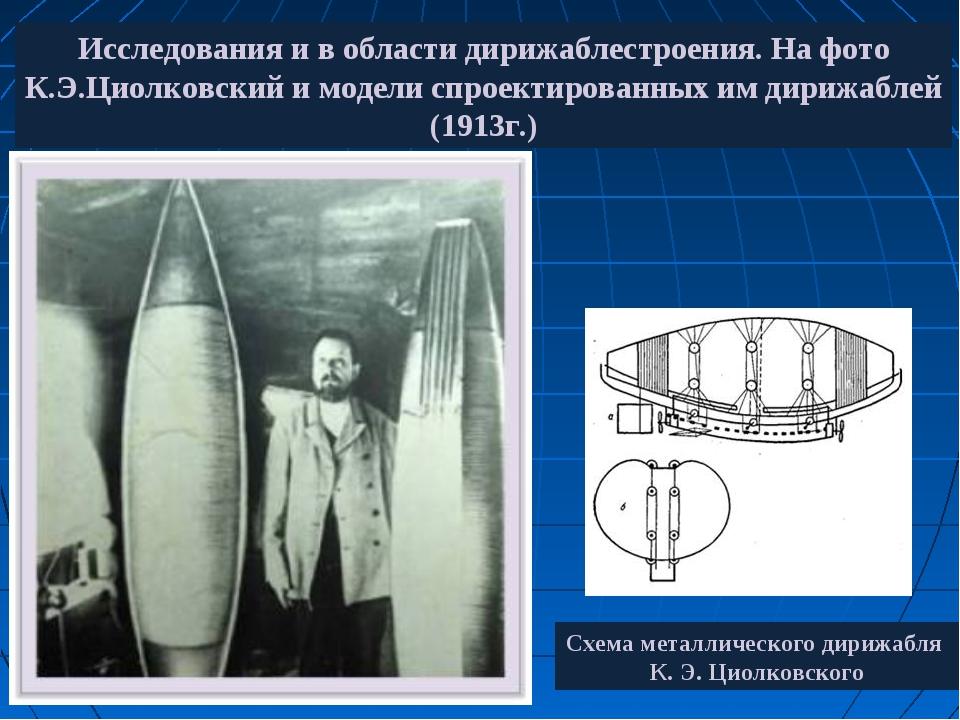 Исследования и в области дирижаблестроения. На фото К.Э.Циолковский и модели...