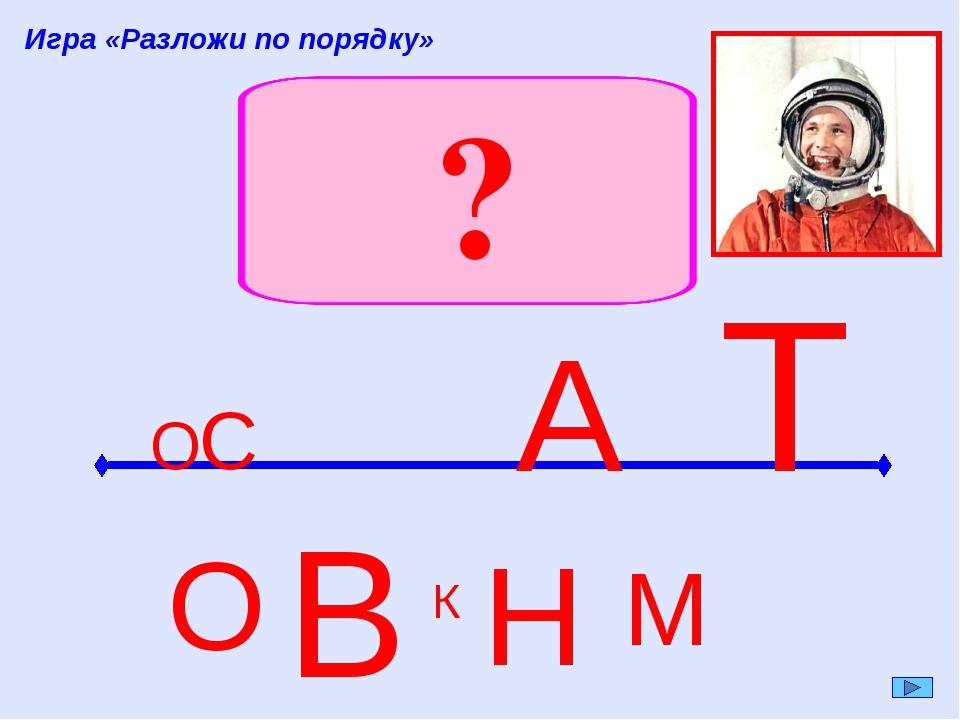В О Н М К Игра «Разложи по порядку» Т А С О ?