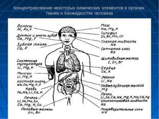 Концентрирование некоторых химических элементов в органах, тканях и биожидкос
