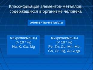 Классификация элементов-металлов, содержащихся в организме человека