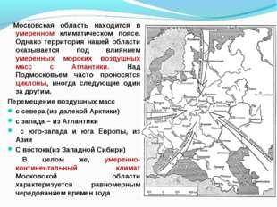 Московская область находится в умеренном климатическом поясе. Однако террито