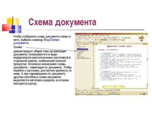 Схема документа Чтобы отобразить схему документа слева от него, выбрать коман