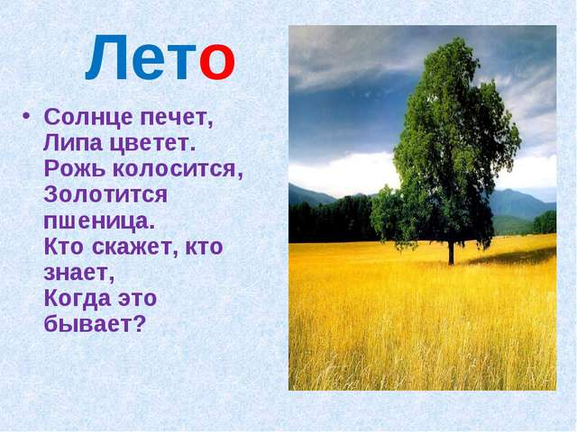 Лето Солнце печет, Липа цветет. Рожь колосится, Золотится пшеница. Кто скажет...