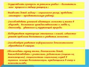 - Осуществлять контроль за режимом учебно – воспитатель ного процесса и отды