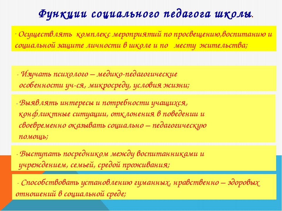 Функции социального педагога школы. Осуществлять комплекс мероприятий по прос...