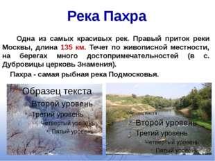 Река Пахра Одна из самых красивых рек. Правый приток реки Москвы, длина 135 к