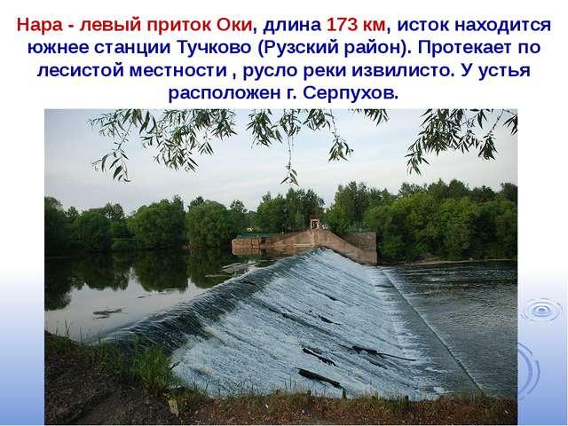 Нара - левый приток Оки, длина 173 км, исток находится южнее станции Тучково...