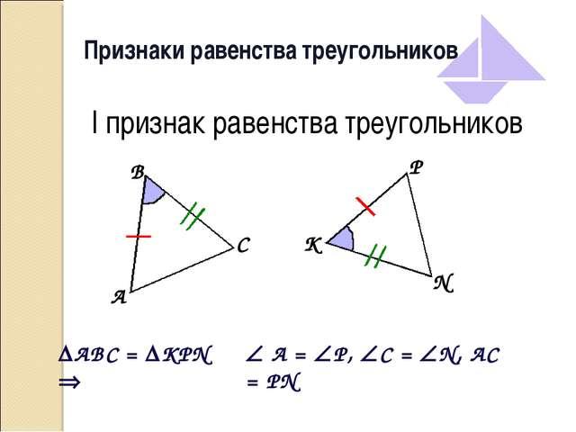 Признаки равенства треугольников I признак равенства треугольников ABC = KP...