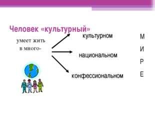 Человек «культурный» умеет жить в много- культурном национальном конфессионал
