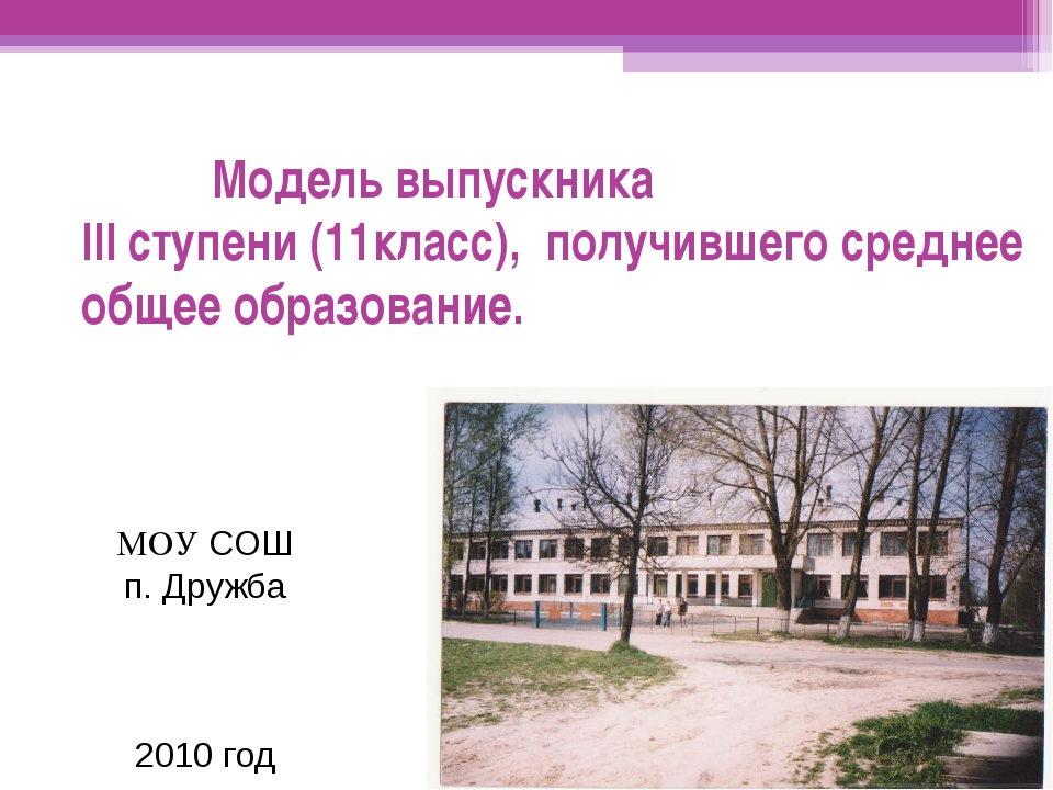 Модель выпускника III ступени (11класс), получившего среднее общее образован...