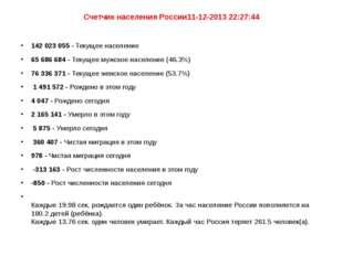 Счетчик населения России11-12-2013 22:27:44 142 023 055 - Текущее население