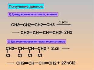 Получение диенов 1) Дегидрирование алканов, алкенов 2) Дегалогенирование тетр