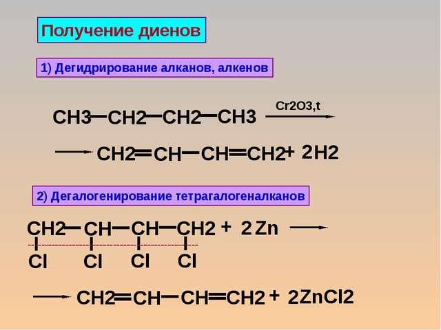 Получение диенов 1) Дегидрирование алканов, алкенов 2) Дегалогенирование тетр...