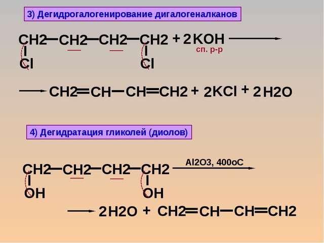 3) Дегидрогалогенирование дигалогеналканов + KOH 2 + + сп. р-р + Al2O3, 400oC...