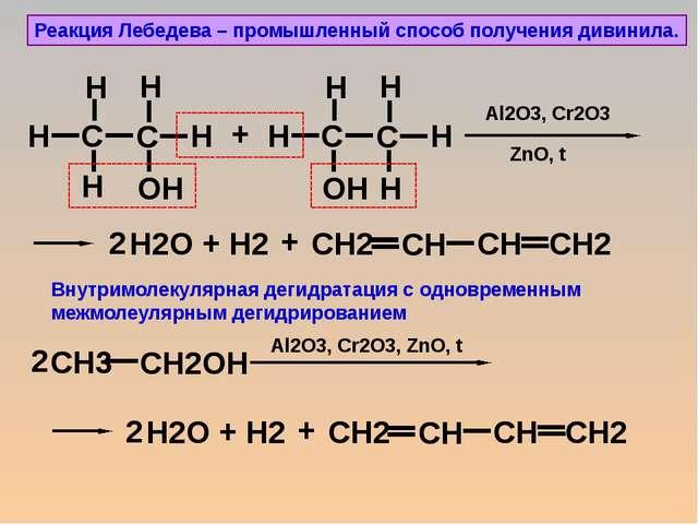 Реакция Лебедева – промышленный способ получения дивинила. + + Н2 + + Н2 + Al...