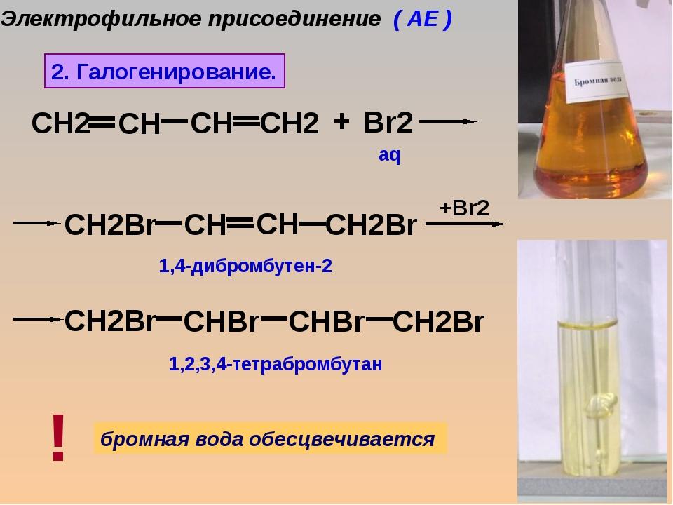 Br2 +Br2 + 1,4-дибромбутен-2 1,2,3,4-тетрабромбутан aq 2. Галогенирование. б...