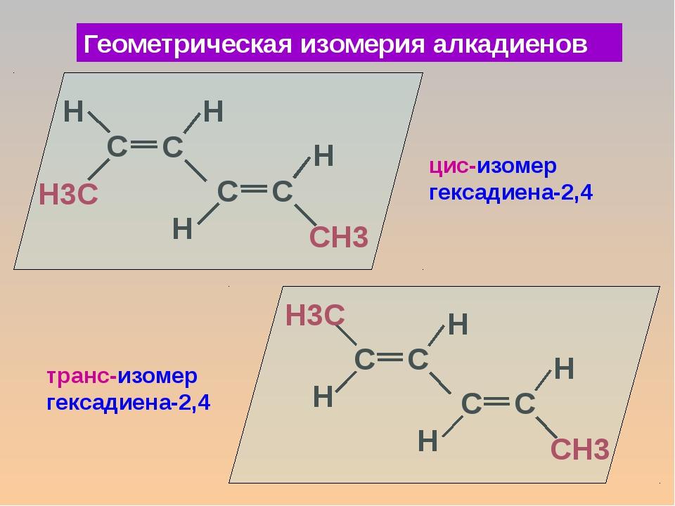 Геометрическая изомерия алкадиенов цис-изомер гексадиена-2,4 транс-изомер гек...