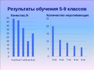 Результаты обучения 5-9 классов Качество,% Количество неуспевающих