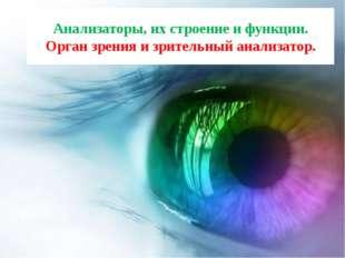 Анализаторы, их строение и функции. Орган зрения и зрительный анализатор.
