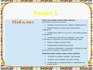 Раздел 3. Мойкласс Личностные универсальные учебные действия Нравственно-этич