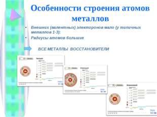 Особенности строения атомов металлов Внешних (валентных) электоронов мало (у