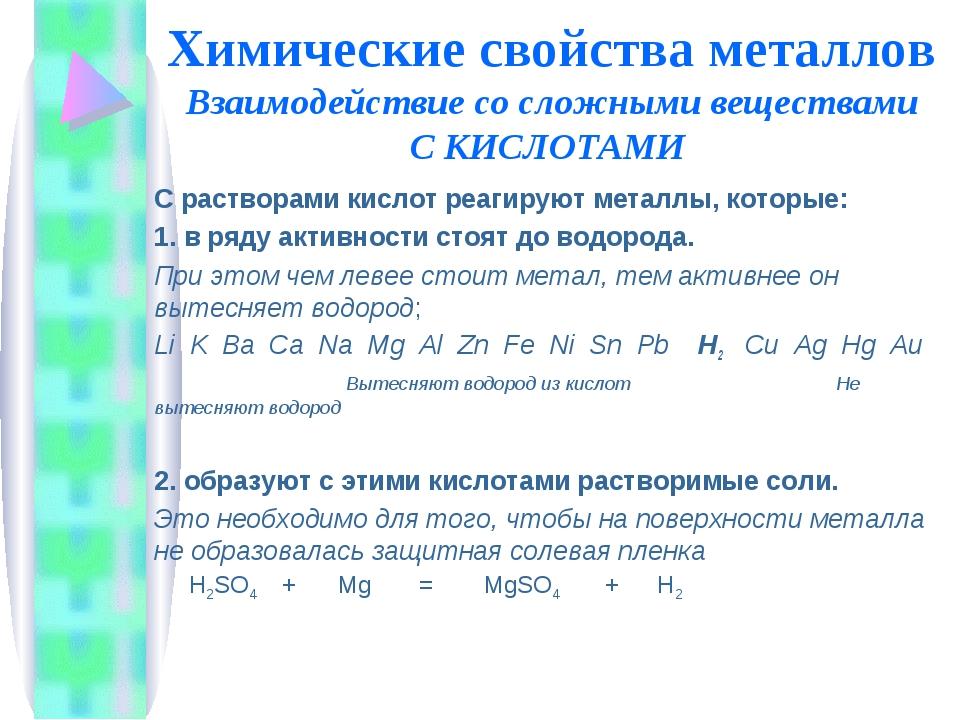 Химические свойства металлов Взаимодействие со сложными веществами С КИСЛОТАМ...