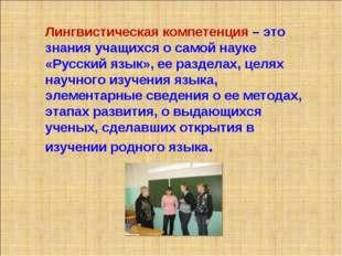 Лингвистическая компетенция – это знания учащихся о самой науке «Русский язык