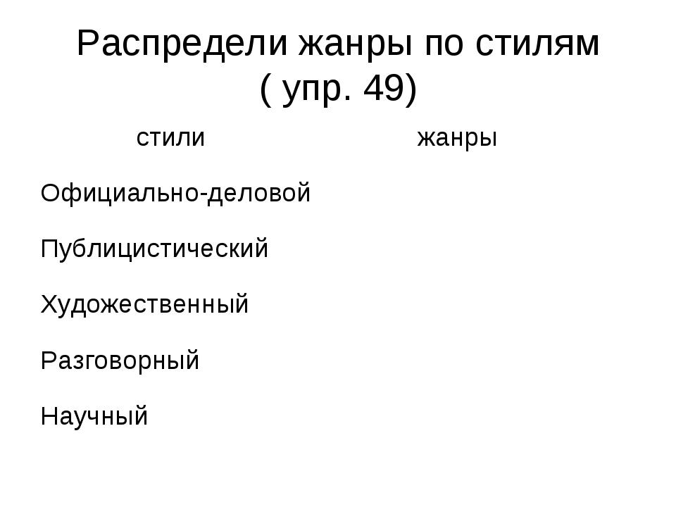 Распредели жанры по стилям ( упр. 49)