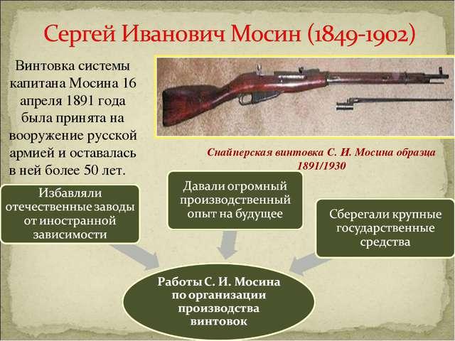 СнайперскаявинтовкаС. И. Мосинаобразца 1891/1930 Винтовка системы капитана...