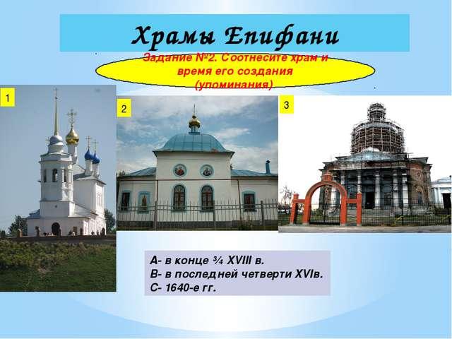Храмы Епифани Задание №2. Соотнесите храм и время его создания (упоминания) 1...