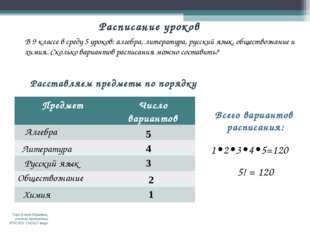 Расставляем предметы по порядку Алгебра Литература 5 Русский язык 4 Обществоз