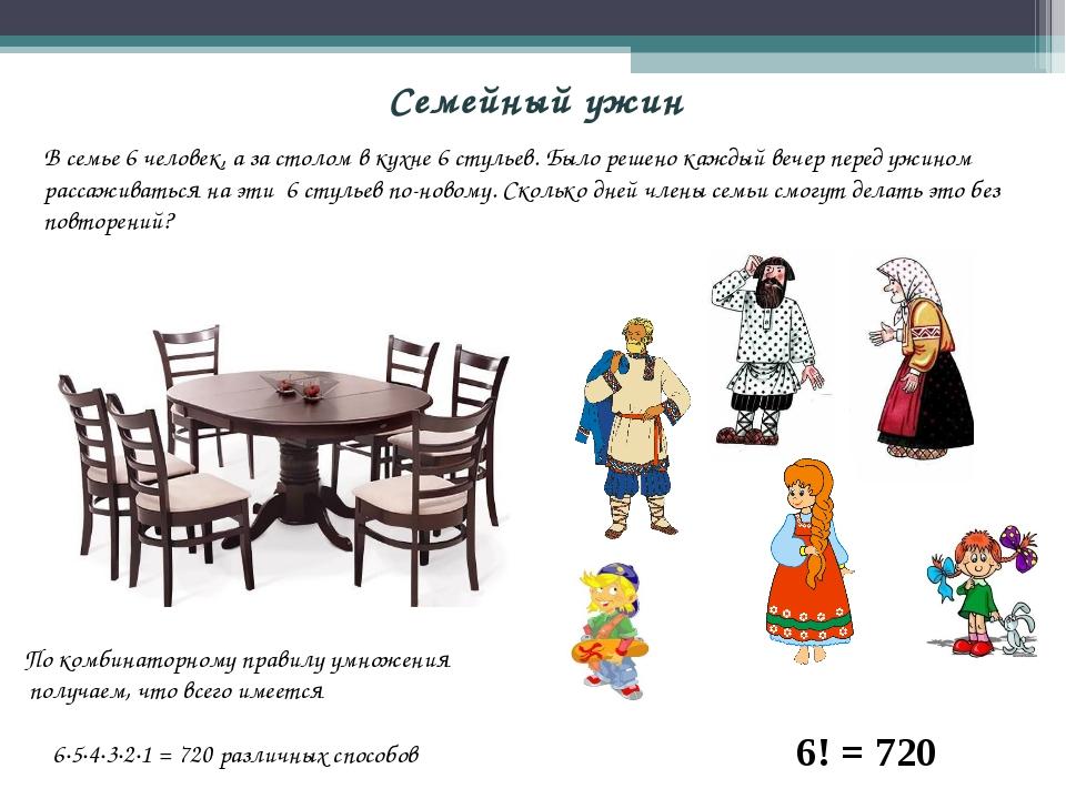 Семейный ужин В семье 6 человек, а за столом в кухне 6 стульев. Было решено к...