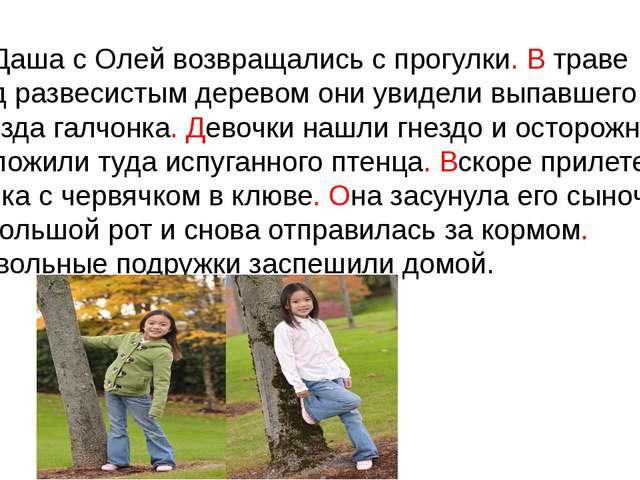 Даша с Олей возвращались с прогулки. В траве под развесистым деревом они ув...