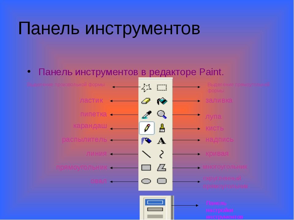 Панель инструментов Панель инструментов в редакторе Paint. Выделение прямоуго...