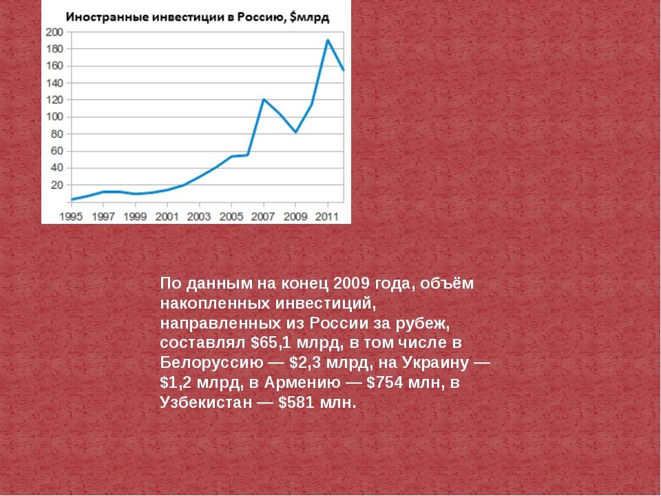 По данным на конец 2009 года, объём накопленных инвестиций, направленных из Р...