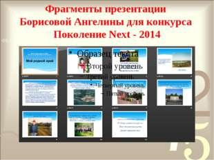 Фрагменты презентации Борисовой Ангелины для конкурса Поколение Next - 2014 А