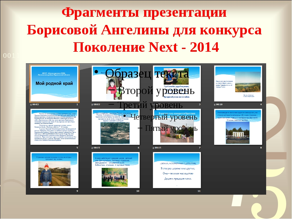 Фрагменты презентации Борисовой Ангелины для конкурса Поколение Next - 2014 А...
