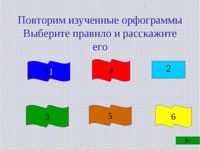 Повторим изученные орфограммы Выберите правило и расскажите его 2 1 3 4 5 6 11