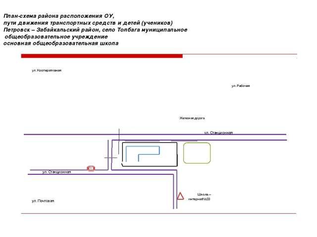 План-схема района расположения ОУ, пути движения транспортных средств и дете...