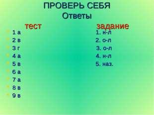 ПРОВЕРЬ СЕБЯ Ответы тест задание 1 а 1. н-л 2 в 2. о-л 3 г 3. о-л 4 а 4. н-л