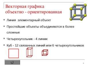 * Векторная графика объектно - ориентированная Линия элементарный объект Прос
