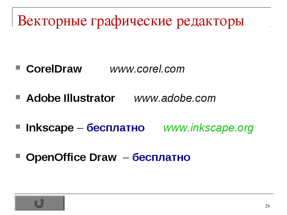 * Векторные графические редакторы CorelDraw www.corel.com Adobe Illustrator w...