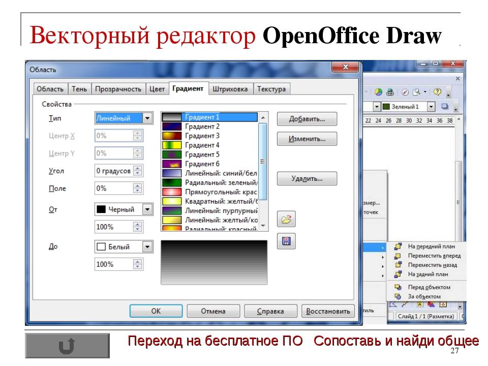 * Векторный редактор OpenOffice Draw Переход на бесплатное ПО Сопоставь и най...