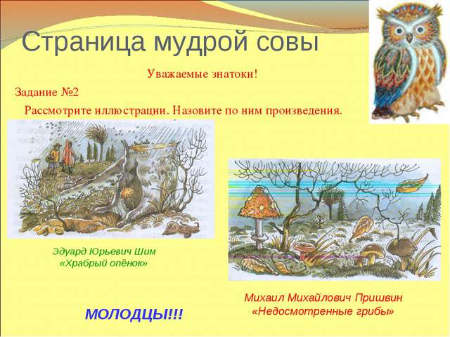 Страница мудрой совы Уважаемые знатоки! Задание №2 Рассмотрите иллюстрации. Н...