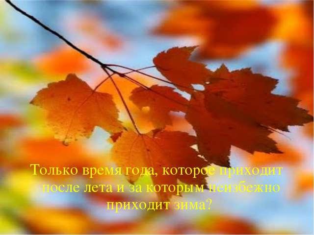 Только время года, которое приходит после лета и за которым неизбежно приходи...